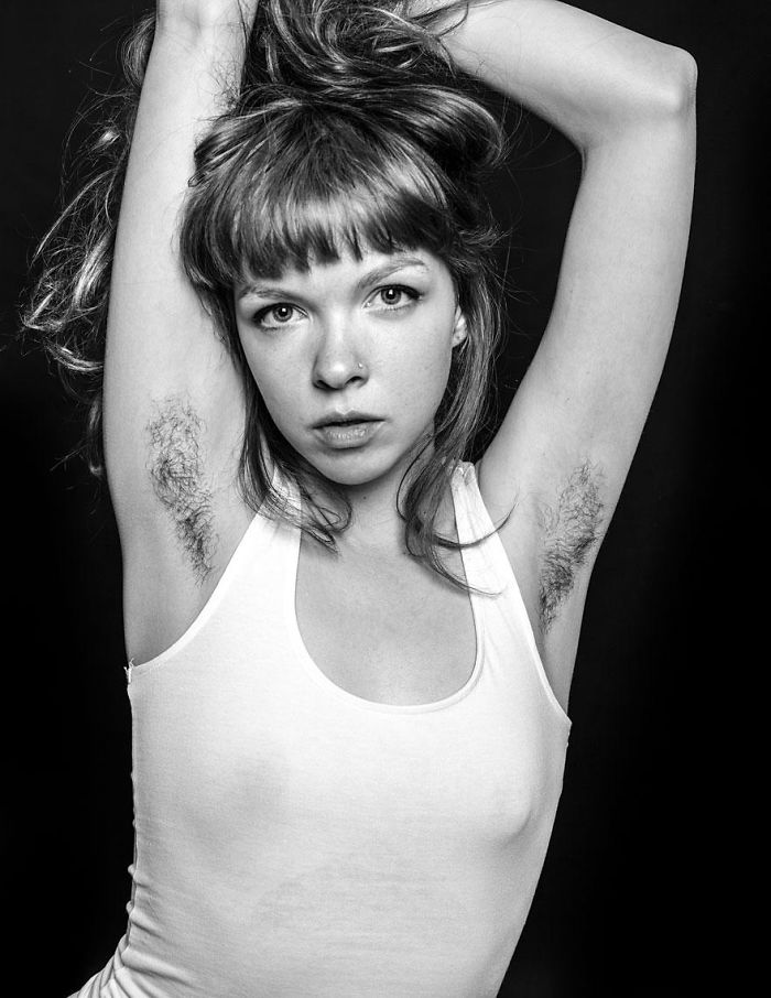 Woman Showing Her Armpit Hair