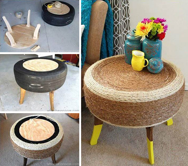 Simple Tire And Yarn Coffee Table
