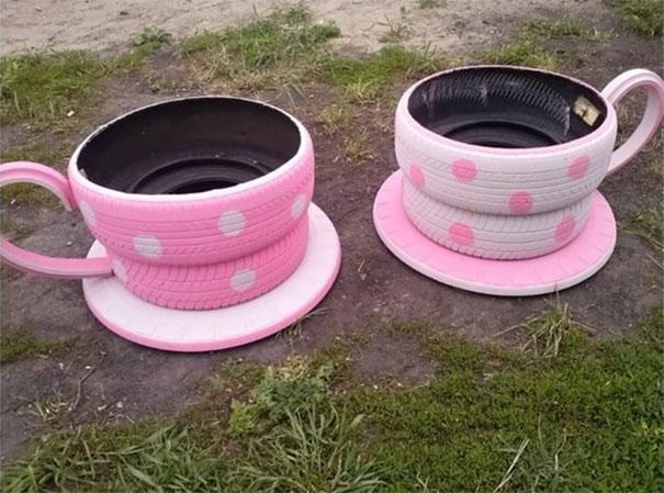 Macetas con neumáticos