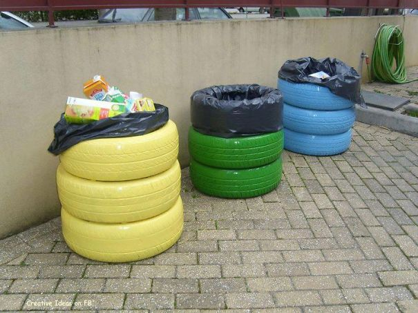 Upcycled Tire Recycling Trash Bins