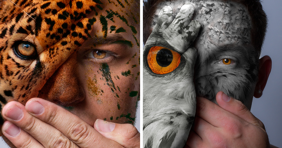 Faces Of The Wild I Fight Animal Captivity With My Portraits - Amazing body art transforms people animals human organs