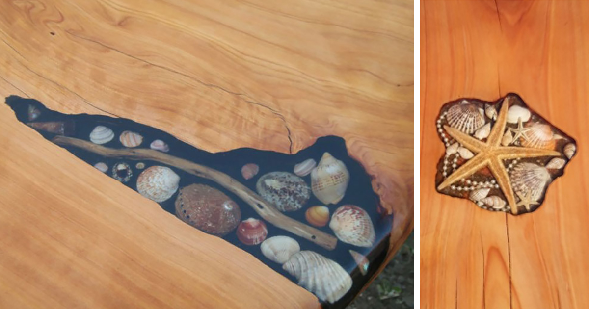 Artists Fill Tables Cracks With Sea Shells Stones And