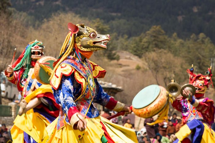 Traditional Costumed Bhutanese Cham Dancers