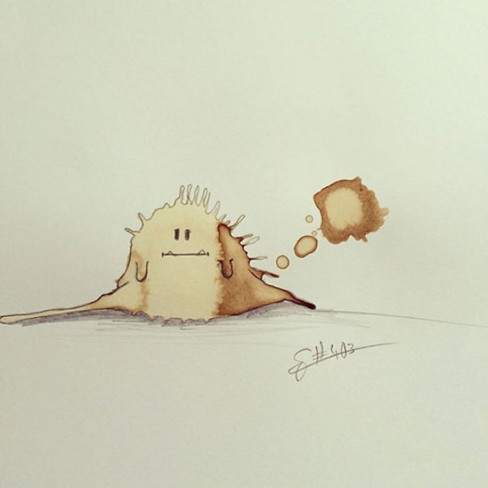 Funny And Creative Monster Drawings Made From Coffee Stains