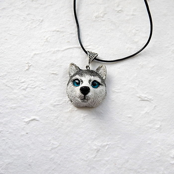 Siberian Husky Head Necklace Of Polymer Clay