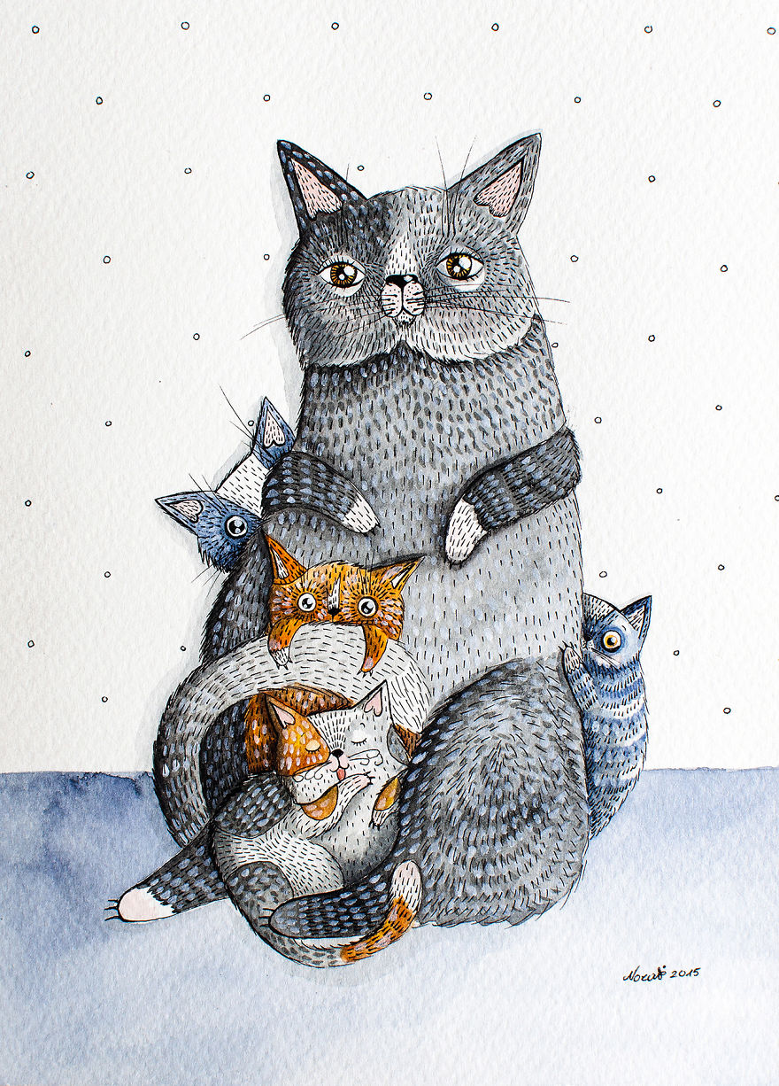 My Watercolor And Ink Paintings Of Quirky Cats Bored Panda