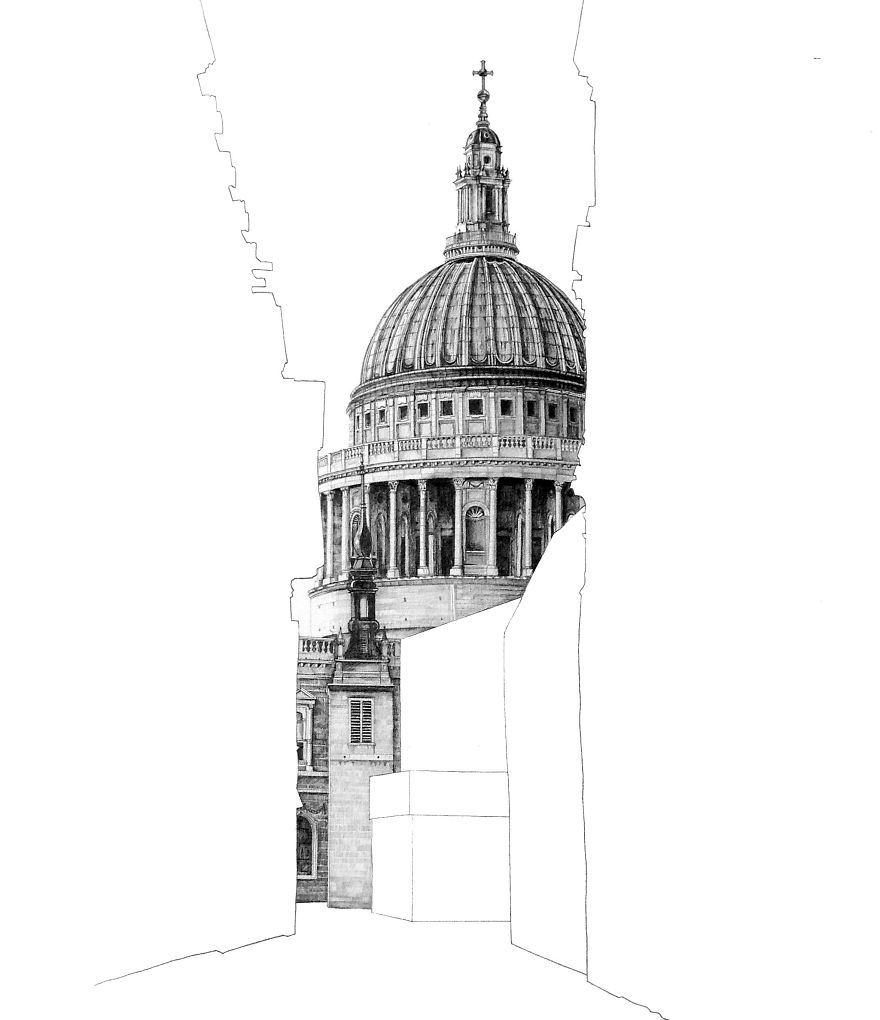 In This Drawing I Wanted To Capture St Pauls Cathedral Its Setting The Ancient Heart Of London It Lies Just West Old City Centre Where
