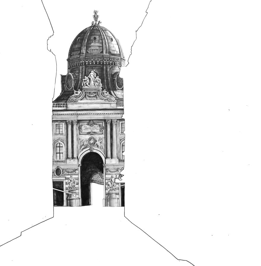 Architectural Drawings Of Famous Buildings Street View In Vienna