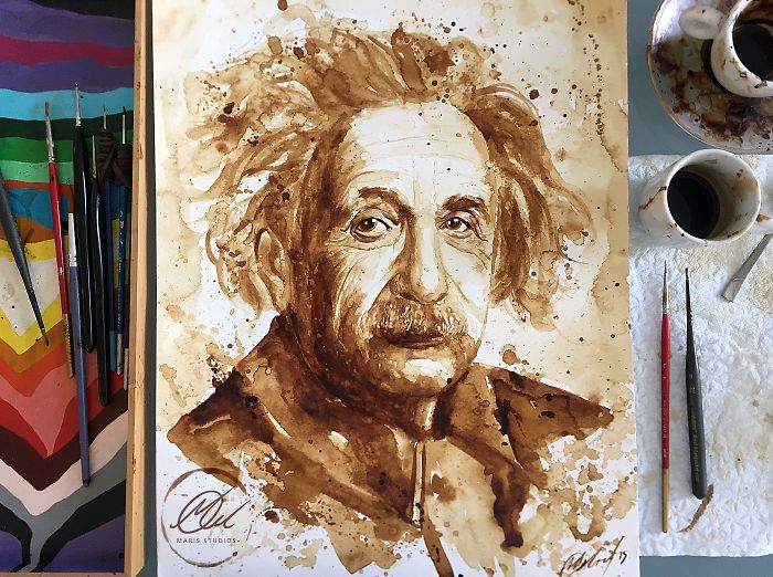 My Portrait Of Albert Einstein Made With Coffee