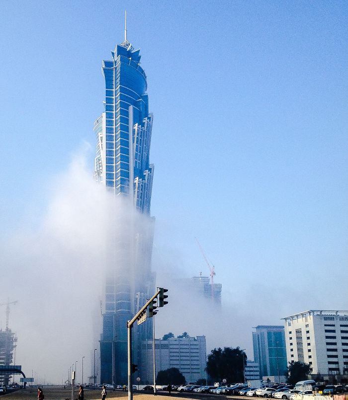 Morning Mist Wraps Around Hotel In Dubai Business Bay