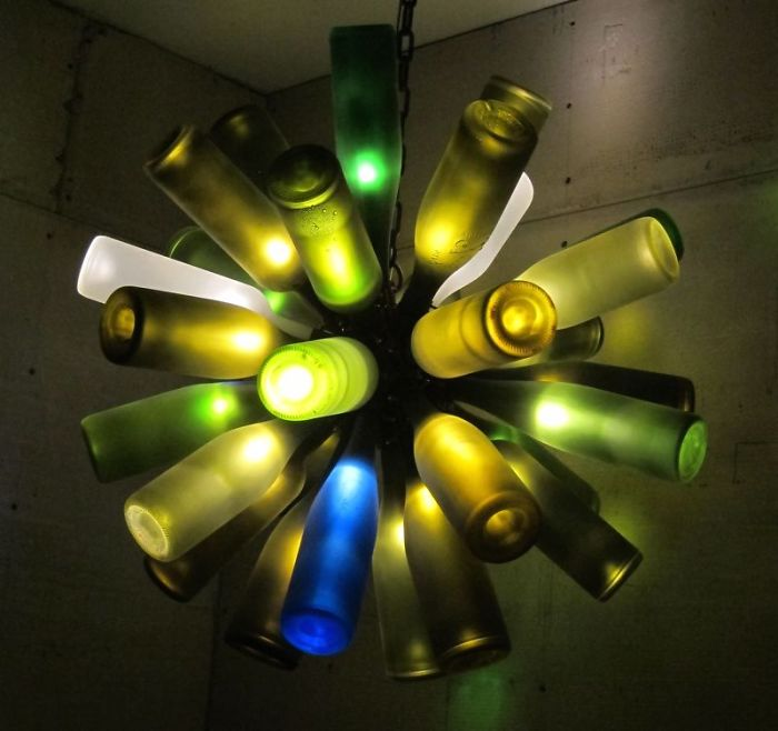 Recycled Wine Bottle Sculpture/chandelier