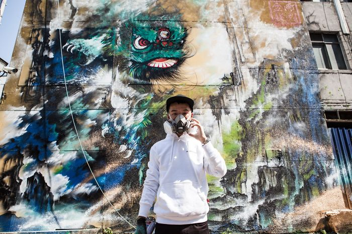 I Painted A Giant Mural Of The Traditional Foshan Lion Dance In Taipei