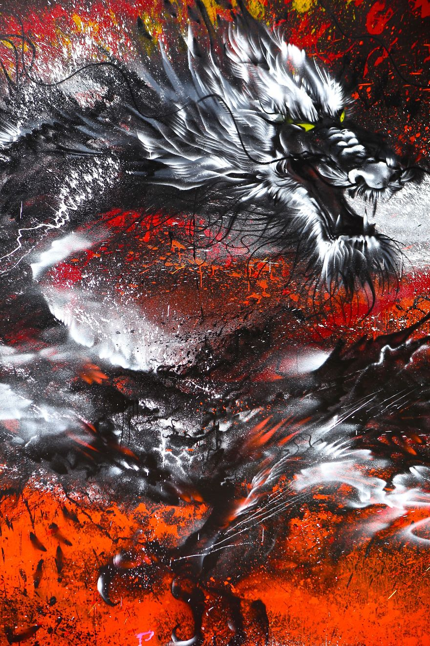 Imperial Dragon My Splattered Wall Mural Of A Powerful