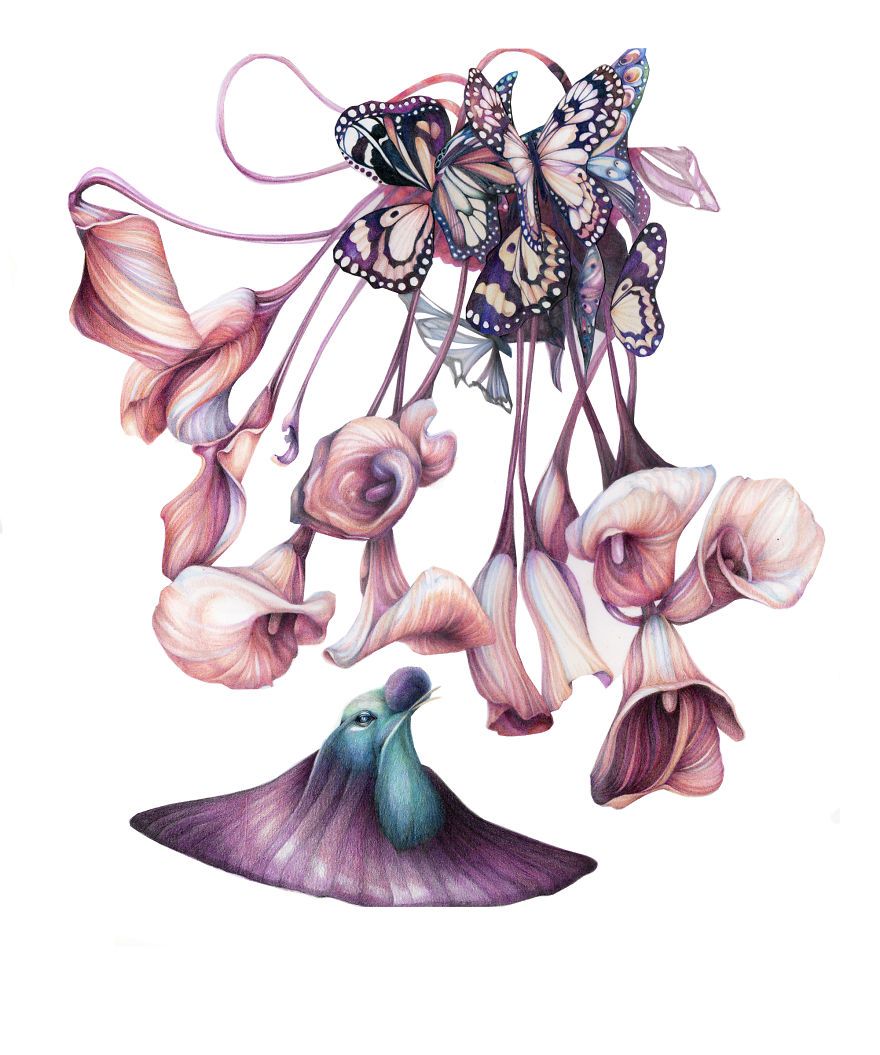 inner bits i combine human organs with flowers and butterflies