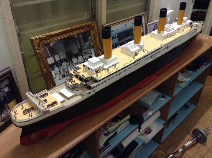 Architecture Student Creates Model Of Titanic Using Recycled Cardboard