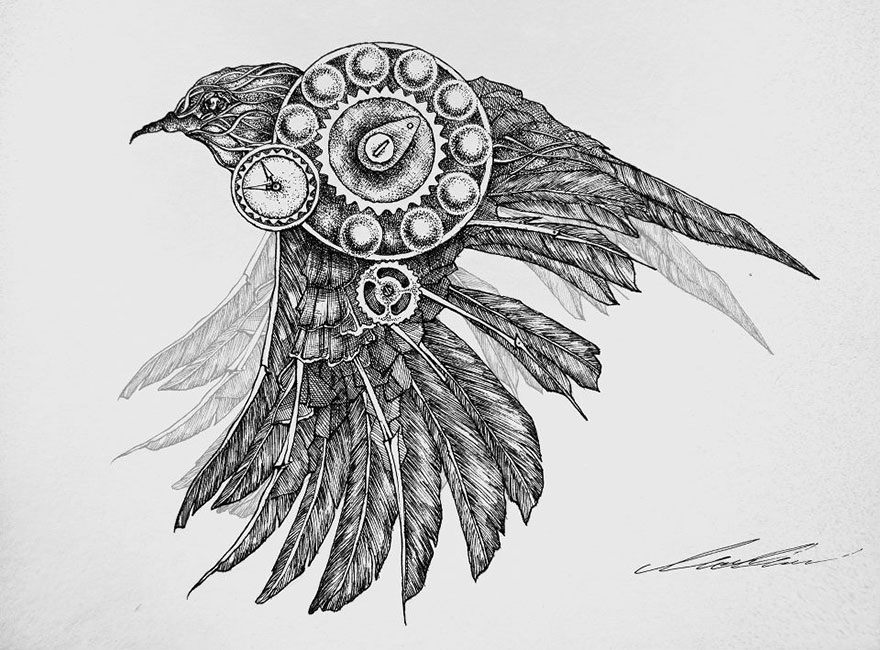 my mechanical birds drawn with ink bored panda