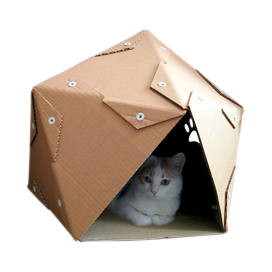 creative cat houses made from cardboard bored panda. Black Bedroom Furniture Sets. Home Design Ideas