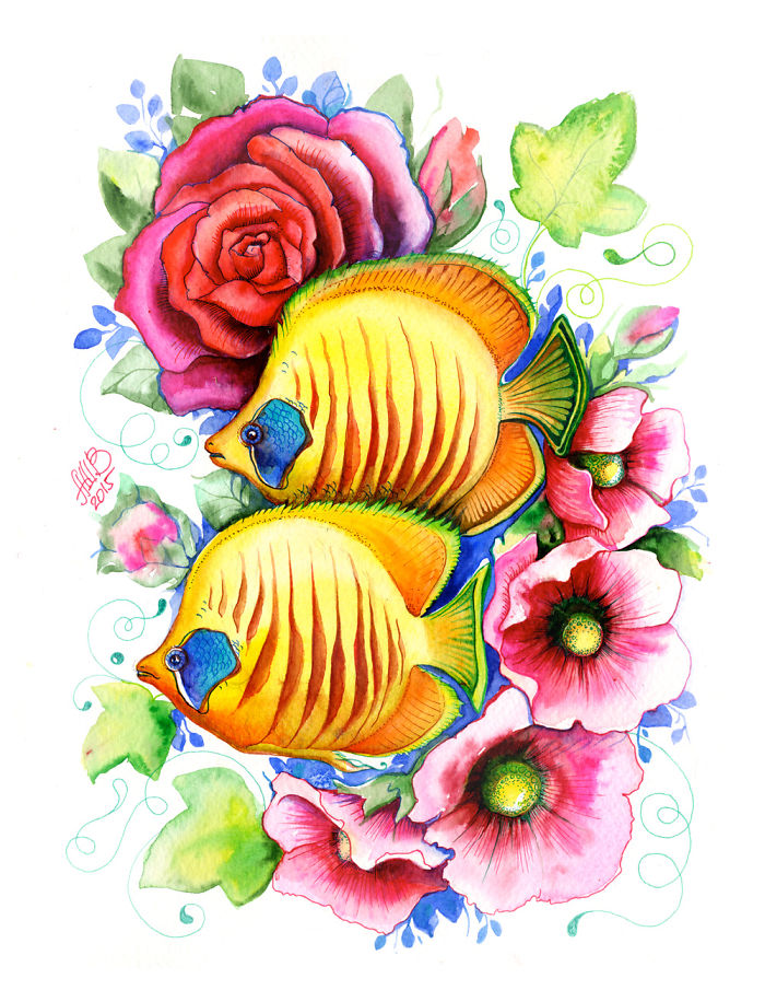 I Make Watercolor Fish Swim With Flowers!