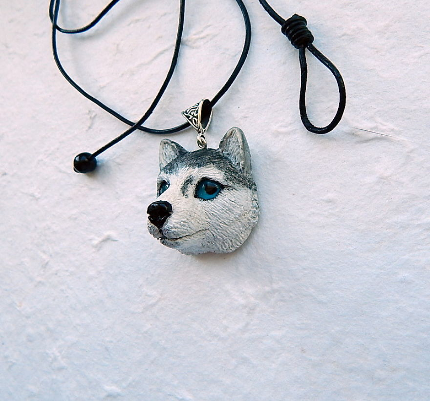 siberian husky necklace of polymer clay bored panda