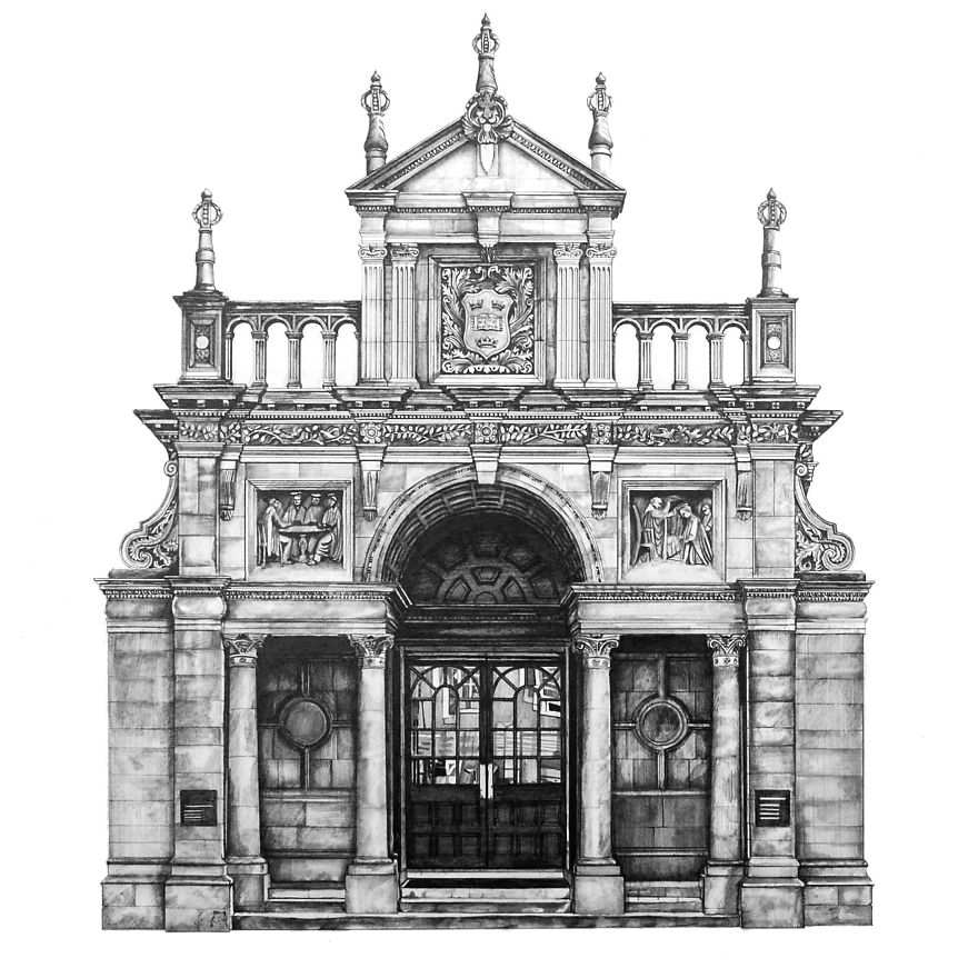 design is in the details my photorealistic drawings of famous european buildings bored panda. Black Bedroom Furniture Sets. Home Design Ideas