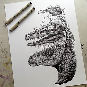 Animals Leave Their Skeletons Behind In Stunning Dark Drawings By Paul Jackson