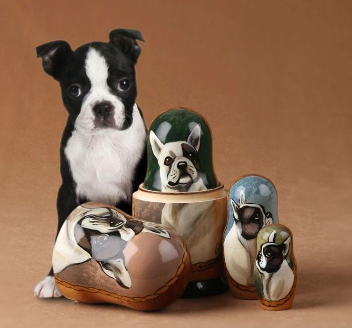 Our Boston Terrier Dog Posing With Her Look-alike Russian Nesting Doll!