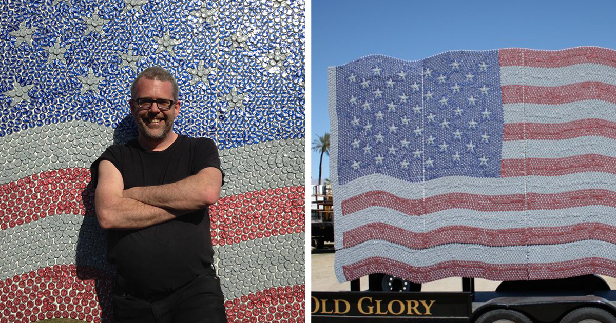 I Made A Giant American Flag From Over 20 000 Budweiser