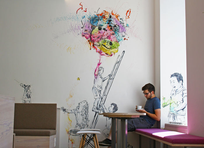 I Was Asked To Design A Huge Mural In A Coffee Shop