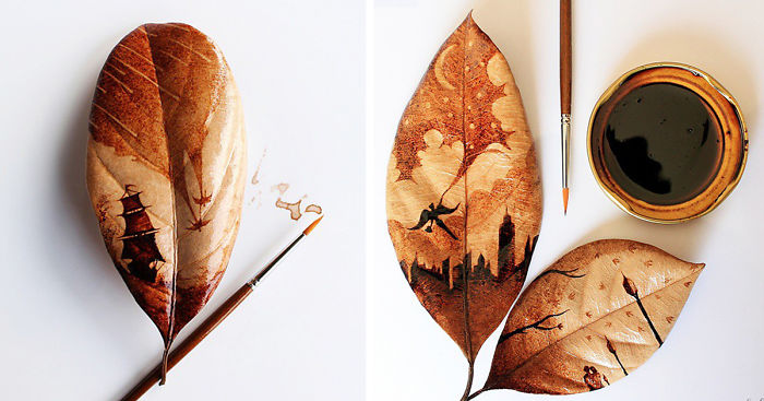 Coffee Leaf Paintings Created With Morning Coffee ...