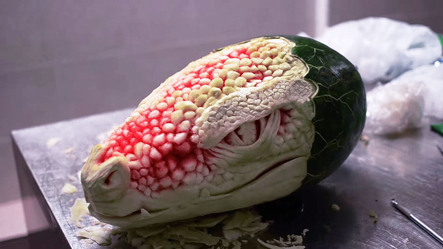 Watch this watermelon become a terrifying dragon bored panda