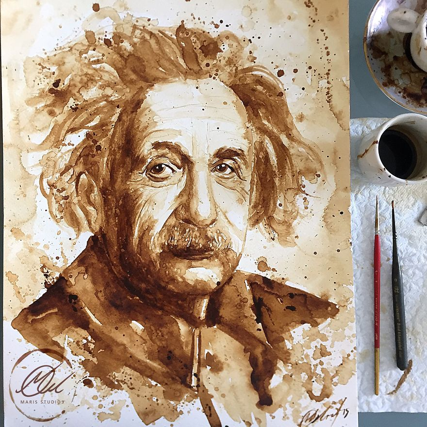 My portrait of albert einstein made with coffee bored panda for Painting with coffee