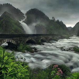 Bridge Over Låtefossen Waterfall