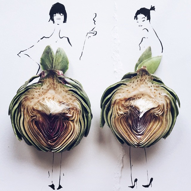 Fashion Illustrator Completes Her Dress Sketches With Food