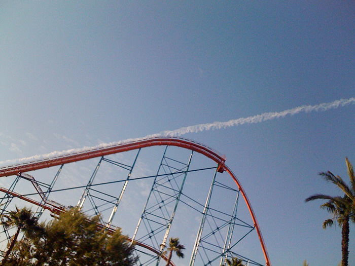 The Contrail Makes It Look Like The Roller Coaster Launched Off Into Space