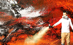 Imperial Dragon: My Splattered Wall Mural Of A Powerful Chinese Symbol