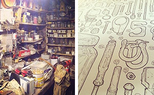 Artist Celebrates Late Grandfather By Drawing Each Of The 100,000+ Items He Left In His Toolshed
