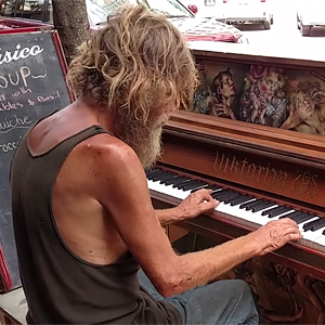 Homeless Man Stuns Passersby By Playing Styx's 'Come Sail Away' On Street Piano