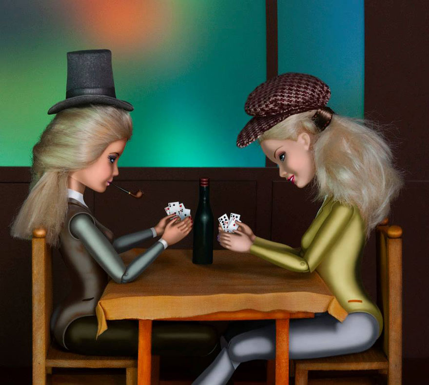 Barbies Invade Classic Paintings To Bring Women Back Into Art - Who painted the card players