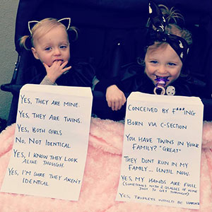 Mom Adds FAQ Signs To Her Twins After Getting Fed Up With Strangers' Questions