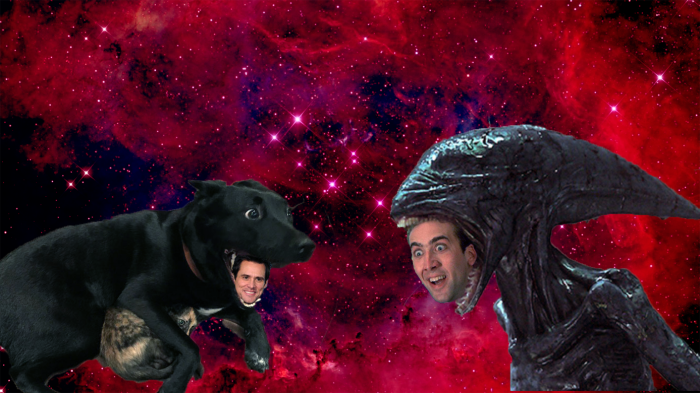 Intergalactic Space Mouth Battle Between Dog-carrey And Xenomorph-cage