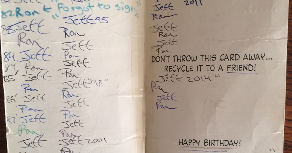 Two Brothers Have Exchanged The Same 'Peanuts' Birthday Card