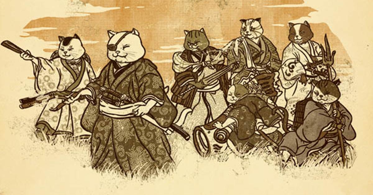 Классные картинки кота самурая