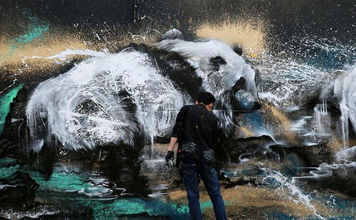 Powerful Panda Street Art Painted In The Splatter Ink Technique