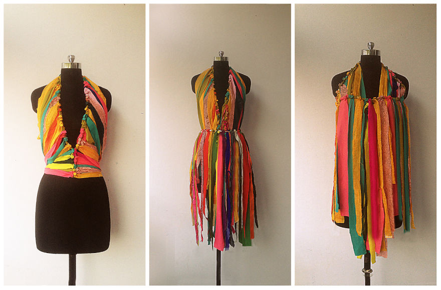Diy Waste Fabric Curtain That Can Become A Dress | Bored Panda
