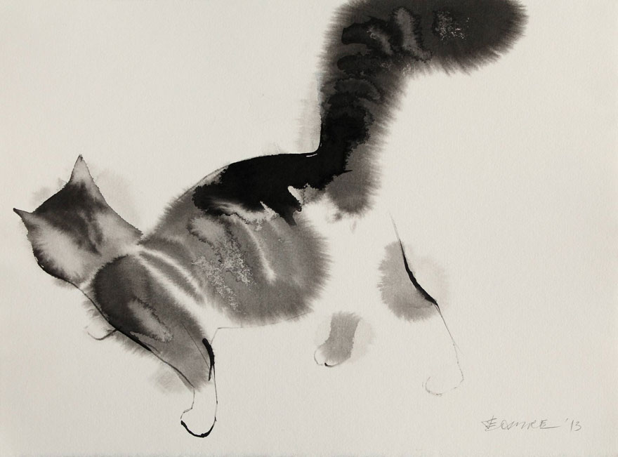 watercolor-cats-ink-paitings-endre-penovac-9