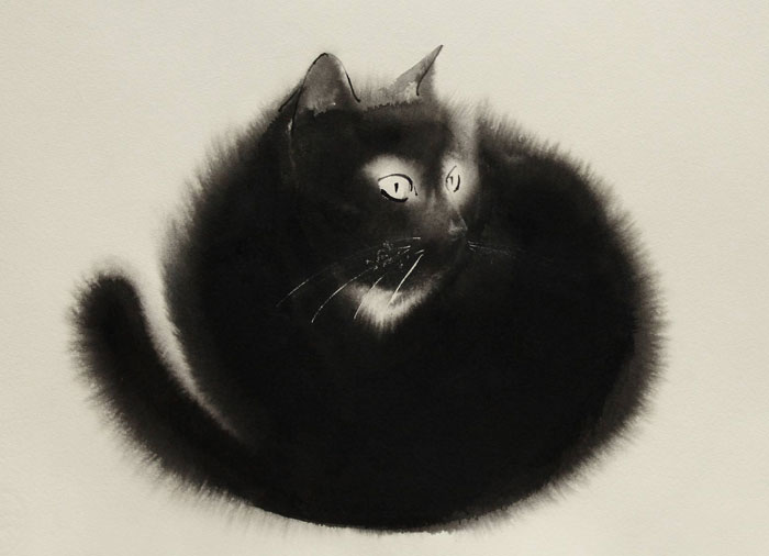 New Watercolor & Ink Cats That Slowly Bleed Into Paper By Endre Penovác