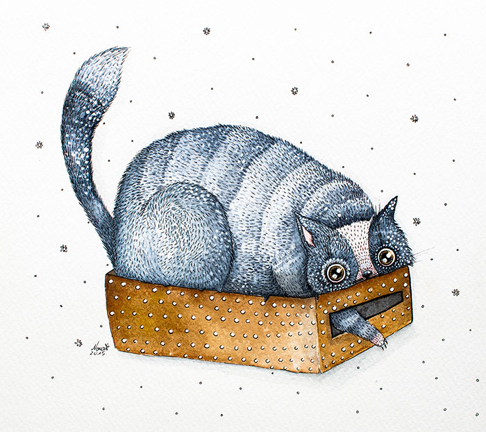 My Watercolor And Ink Paintings Of Quirky Cats
