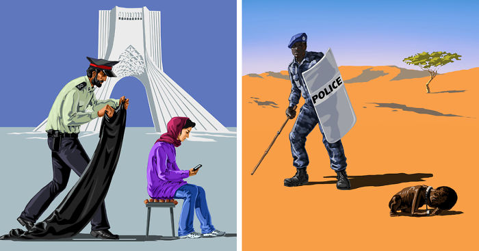 Satirical Illustrations Of Police Officers Around The