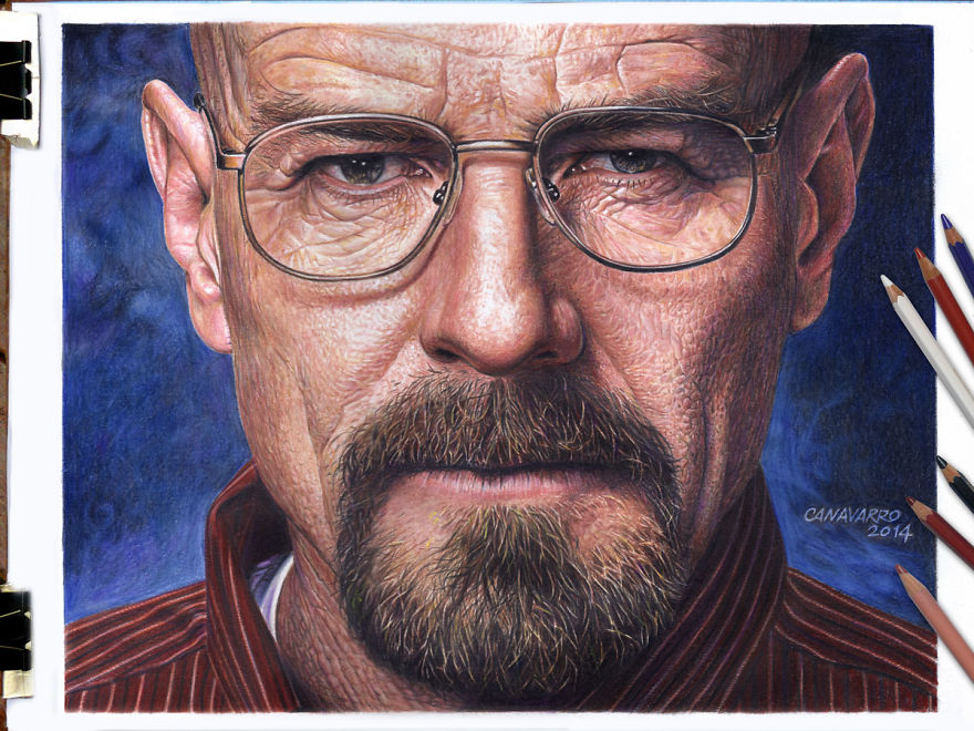 I Drew A HyperRealistic Portrait Of Walter White In Hours - Amazing hyper realistic pencil drawings celebrities nestor canavarro