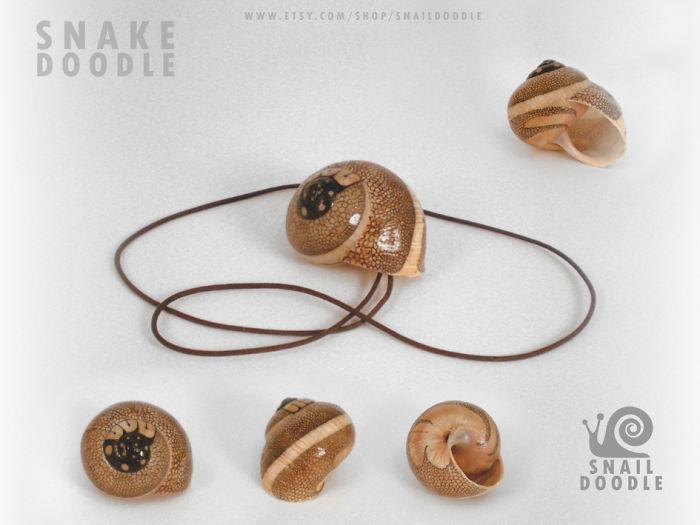 Necklace Snake Doodle Snail Shell